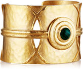 Evelyn Knight Gold & Malachite Hammered Orbit Cuff