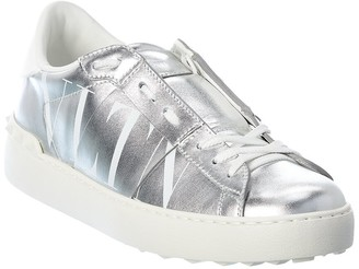 Valentino Rockstud Metallic Leather Sneaker