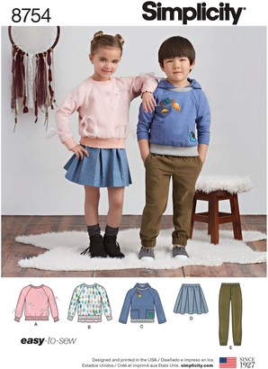 Simplicity Children's Sweaters, Joggers and Skirts Sewing Pattern, 8754