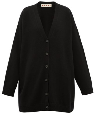 Marni Oversized V-neck Cashmere Cardigan - Womens - Black Green