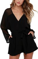 Futurino Women Solid Deep V Long Sleeve Chiffon Beach Jumpsuit Rompers 6/8