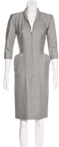 Alexander McQueen Virgin Wool Houndstooth Dress