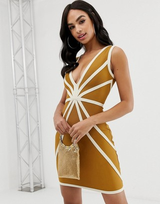 The Girlcode plunge front bandage dress with contrast piping in caramel