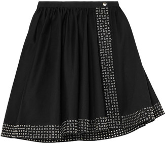 Alaia Asymmetric Eyelet-embellished Cotton-gabardine Mini Skirt
