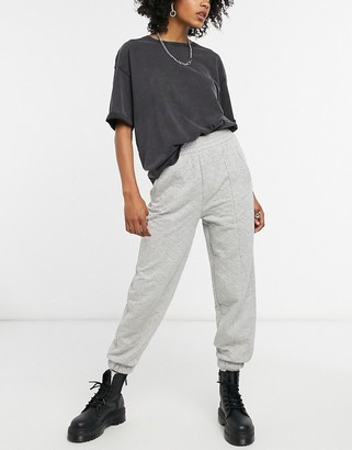 Bershka quilted oversized jogger co-ord in grey