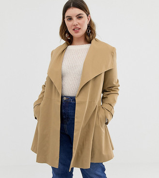 Asos DESIGN Curve skater coat with tie belt