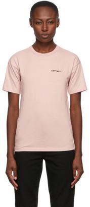 Carhartt Work In Progress Pink Script Embroidery T-Shirt
