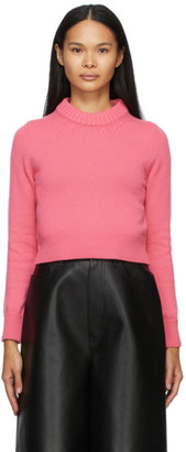Alexander McQueen Pink Cashmere Cropped Sweater