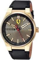 Ferrari Scuderia Men's 'SPECIALE 3H' Quartz Gold-Tone and Leather Casual Watch, Color: (Model: 0830415)