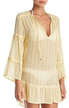 Vix Solid Ruffled Tunic Swim Cover-Up