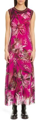Fuzzi Leopard & Floral Print Tulle Maxi Dress