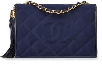 Chanel Navy Quilted Satin Diamond Full Flap Small