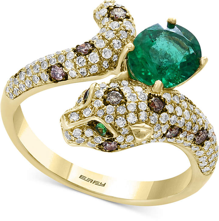 Effy Signature by Multi-Gemstone (1-1/6 ct. t.w.) & Diamond (5/8 ct. t.w.) Leopard Ring in 14k Gold