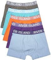 River Island MensBlue branded trunks multipack