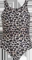 boohoo Girls Leopard Print Scoop Swimsuit