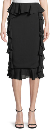 Cushnie Romina Pencil Skirt with Georgette Ruffle Sides