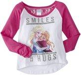 "Disney Frozen"" Smiles & Hugs Raglan Tee (Kid)-White/Pink-Small (7)"