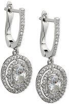 Nina Silver-Tone Cubic Zirconia Pavé Halo Drop Earrings