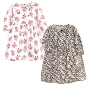 Little Treasure Baby Girl Long Sleeve Dress, 2 Pack