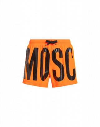 Moschino Fluo Beach Boxer With Logo Man Orange Size L It - (m Us)