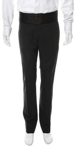 Dolce & Gabbana Virgin Wool Satin-Trimmed Pants