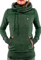 CFD Womens High Collar Pockets Fleece Cotton Hooded Sweater L
