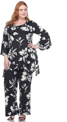 White Mark Plus Size Floral Bell Sleeve Tunic and Pant Set