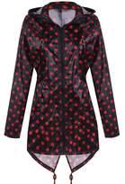 Meaneor Women's Long Sleeve Fishtail Dot Print Cute Raincoat Waterproof Jacket Black XL