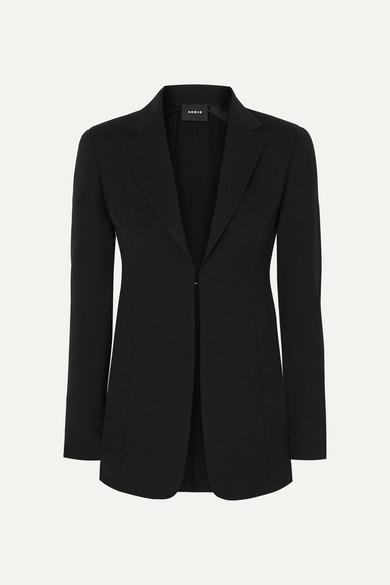 Akris Odette Leather-trimmed Wool-blend Crepe Blazer - Black