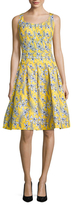 Oscar de la Renta Printed Pleated A-Line Dress