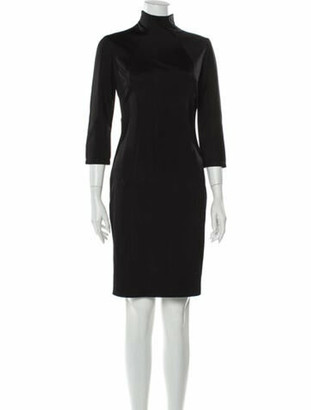 Versace Mock Neck Knee-Length Dress Black