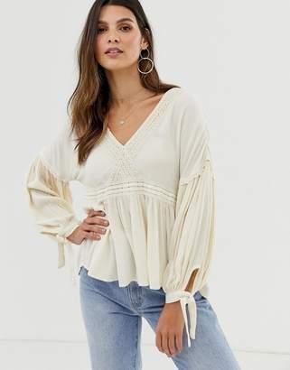 Y.A.S festival balloon sleeve crinkle blouse-Beige
