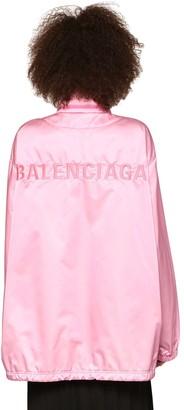 Balenciaga Embroidered Logo Satin Raincoat