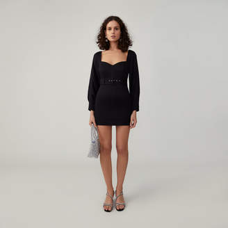 Fame & Partners Tight-Fit Long Sleeve Belted Dress