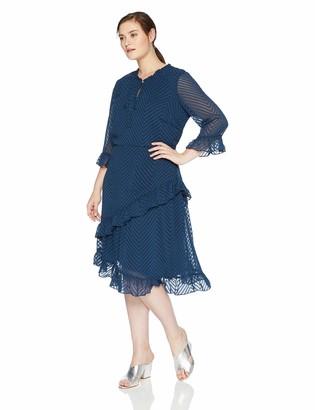 Junarose Women's Plus Size Moniwa Three Quarter Sleeve Below Knee Dress