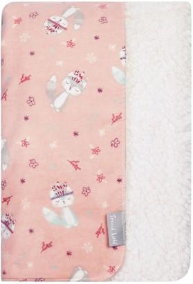 Trend Lab Fox & Flowers Flannel & Faux Shearling Baby Blanket