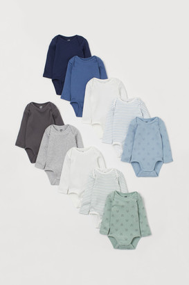 H&M 10-pack Long-sleeved Bodysuits - Blue