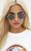PrettyLittleThing Black Diamond Shape Retro Sunglasses