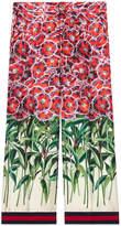 Gucci Poppy garden silk pajama pant