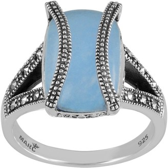 Marc Shoes Sterling Silver Rectangular Blue Jade & Marcasite Ring