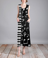 Aster Black & White Abstract Sleeveless Midi Dress - Plus Too