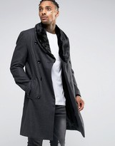 Criminal Damage Overcoat With Faux Fur Collar