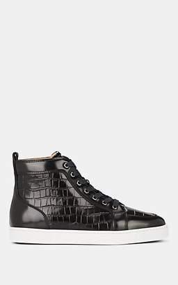 Christian Louboutin Men's Rantus Flat Crocodile-Stamped Leather Sneakers - Black