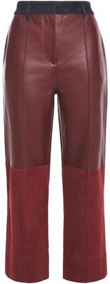 Victoria Victoria Beckham Paneled Suede And Leather Straight-leg Pants