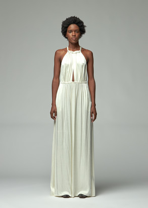 Raquel Allegra Women's Crepe Back Satin Keyhole Dress in Cream Size 1 Viscose/Rayon