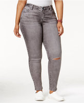 SLINK Jeans Trendy Plus Size Ripped Rocky Grey Wash Skinny Jeans