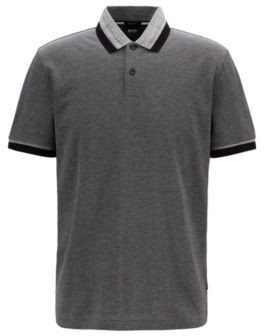 BOSS Regular-fit polo shirt with mouline stripe