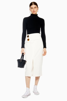 Topshop Womens Ivory Button Skirt - Ivory