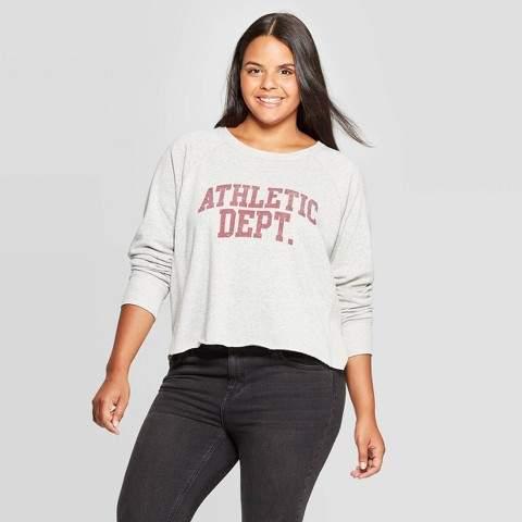 Grayson Threads Women's Athletic Dept Plus Size Long Sleeve Graphic Sweatshirt (Juniors') - Gray