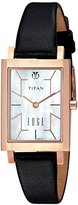 Titan Women's 'Edge' Quartz Stainless Steel and Leather Watch, Color:Black (Model: 2516WL01)